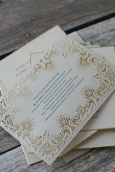 Intricate lace laser-cut wedding invitation. 100% stunning! From Invitation by Dawn.