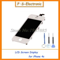 Free Shipping 100% Guarantee For iPhone 4 4s LCD Display+Touch Screen Digitizer+Frame Assembly White Black  with Tools