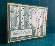 handmade card ... Super Moon...Silent Night scene from Rambling Rose Studio by Billie Moan ... scene inked and stamped on embossing folder before embossing ... gorgeous!