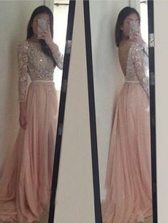 A-LINE BATEAU APPLIQUES BEADED LONG SLEEVES BACKLESS SWEEP/BRUSH TRAIN CHIFFON PROM DRESSES