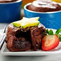 Molten Chocolate Cake Recipe - An easy recipe for an irresistible dessert. A rich chocolate cake with a soft melted chocolate center.