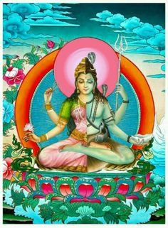 Lord shiva as ardhnarishwar in creative art painting