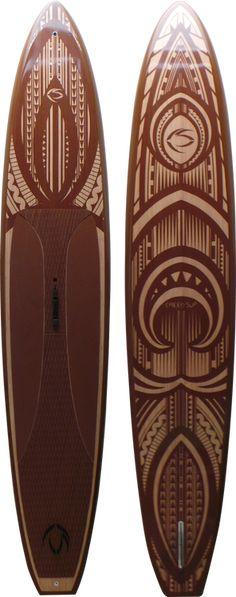 "Hono Elite 12'6"" Race Stand Up Paddle Board - Bamboo Veneer | Newkon Graphic"