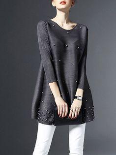 #AdoreWe #StyleWe Tunics - Designer LONYUASH Gray Beaded Plain 3/4 Sleeve Crew Neck Tunic - AdoreWe.com