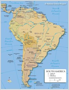 Politcal Map of South America 600 px