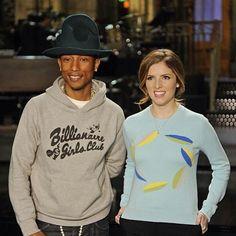 Pharrell & Anna Kendrick on set SNL (2014) #pharrellwilliams #annakendrick #snl #behindthescenes #follow #followme