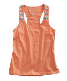 Take a look at this Tangerine Orange Stripe Racerback Tank - Women on zulily today!