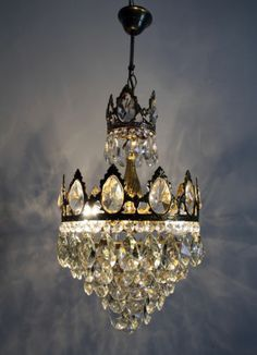 Antique Vintage French Basket Style Brass Crystals Chandelier Ceiling Lamp | eBay