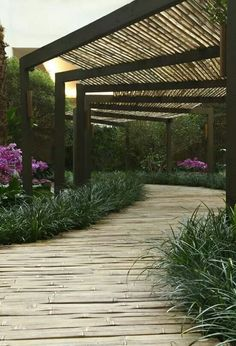Find More Inspirations About Covered Garden Walkway Ideas 12 Awesome Garden Pergola Projects You Can Create To Complement Your Backyard Pergola Shade, Pergola Patio, Pergola Plans, Backyard, Pergola Kits, Pergola Ideas, Curved Pergola, Wisteria Pergola, Covered Walkway