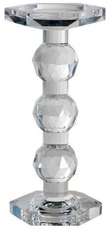 A&B Home Single Candle Holder Faceted Glass 12