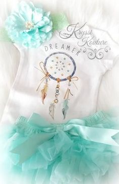 ****CUSTOMER FAVORITE**** Baby Girl or Boys Blue & Aqua Dreamer Boho Baby Onesie - Newborn Onesie