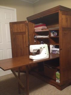 Charmant Sewing Cabinet With Table Folded Out