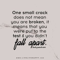 One small crack does not mean that you are broken, it means that you were put to the test and you didn't fall apart. - Linda Poindexter