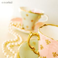 Pearls and tea cups ~ Fleur De Lis (1) From: FlickR, please visit
