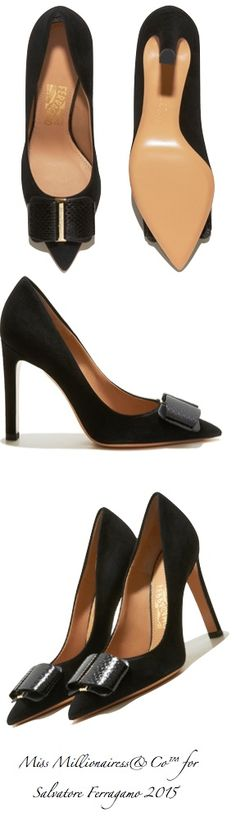 Salvatore Ferragamo 2015 Pointy-Toe Bow Pump in Black
