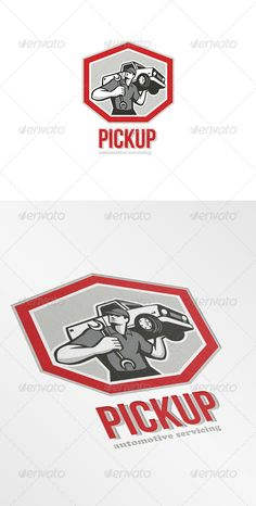 Pickup Automotive Servicing Logo — Vector EPS #logo #worker • Available here → https://graphicriver.net/item/pickup-automotive-servicing-logo/7377507?ref=pxcr