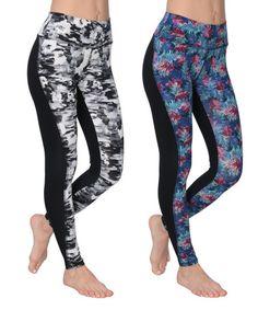 Look what I found on #zulily! Black & Blue Floral Leggings Set #zulilyfinds