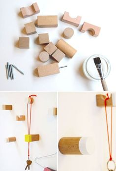 DIY wall hooks from toy blocks - could also buy a dowel or something from home depot and cut it into little pieces for displaying necklaces / bracelets / frames / etc
