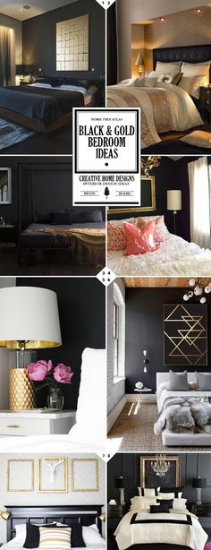 Style Guide: Black and Gold Bedroom Ideas. Black And Silver Bedroom Decorating Ideas Black White And Gold Bedroom, Bedroom Black, Black Silver, Black Walls, Black Bedrooms, Black And Gold Living Room, Black Gold Decor, Black Deer, Gothic Bedroom