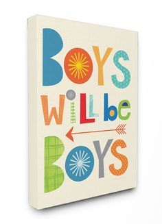 Boys will Be Boys with Arrow Stretched Canvas Art
