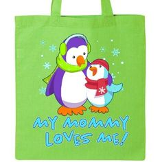 Inktastic My Mommy Loves Me Tote Bag Family Penguins Cute Winter Son Mother Mom Reusable Grocery Book, Green