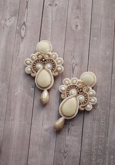 Soutache dangle beaded earrings in beige, gold, ivory colors with velvet, Embroidered floral long earrings, Statement boho wedding pastel Wedding Earrings, Wedding Jewelry, Vanilla Custard, Soutache Earrings, Czech Glass Beads, Beaded Embroidery, Statement Earrings, Summer Wedding, Jewelery