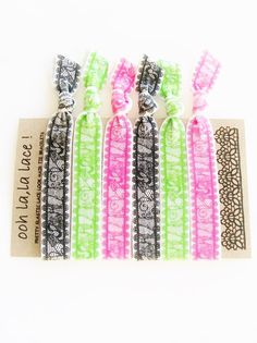 Free Shipping 6 Hair Ties Oh la la Lace Set by LuckyGirlHairTies, $5.00