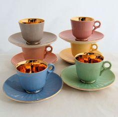 Mid Century Figgjo Flint Norway Porcelain Demitasse Cups Saucers Set.  Offered by Antik Avenue. #Norway