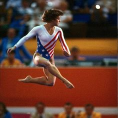 Mary Lou Retton, my favorite Olympian :-). I was in gymnastics for 6yrs, loved it!  I still have bruises from the uneven bars-true story!