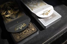 Nicolai Aarøe is raising funds for Dominus Playing Cards on Kickstarter! decks with metallic ink and gold foiled, embossed tucks. II in the 'Light vs. Darkness' series by Nicolai Aarøe. Gold Playing Cards, Bicycle Cards, Wars Of The Roses, Cartomancy, Unique Cards, Fun At Work, Deck Of Cards, Tarot Cards, Card Games