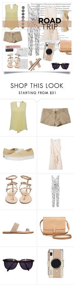 """ADVENTURE TIME."" by sara-gill-at-gurdevsinghgill95 ❤ liked on Polyvore featuring M&Co, Hollister Co., Vans, Valentino, Lemlem, Common Projects, Sonia Rykiel, Kate Spade and MAC Cosmetics"
