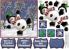 Smile it s Christmas  on Craftsuprint designed by Janyce Cotterill - Super cheerful sheet to bring a smile to a face this Christmas. Mr. Snowman is skating by with greeting sentiments, Have a Joyful Christmas, Make Merry this Christmas and as the title suggests - Smile - it's Christmas and a blank for your own greeting. These are sized and designed to go in top right hand corner of sheet but where you put them is up to you! There are easy layers to cut to decoupage this jolly snowman. As it…