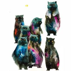 """11.3 mil curtidas, 138 comentários - Lora Zombie (@lorazombie) no Instagram: """"When watercolor doodle smudges becomes Kitties outer the space!!!"""""""