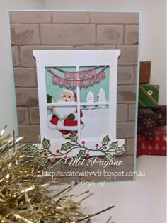 CreatewithMel. Holiday catalogue 2015 blog hop. Home for Christmas DSP. Hearth and Home Framelits. Sleigh Ride Edgelits. Stampin Up. Christmas Card. Brick Embossing Folder.