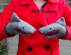 PDF Knitting Pattern Shark Mittens by StitchBrinnStitch on Etsy, $6.50