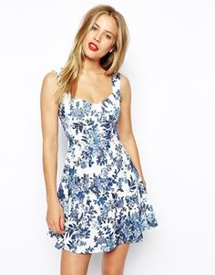 Image 1 ofASOS Skater Dress with Sweetheart Neck and Floral Texture Print