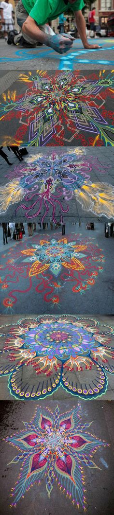 Beautiful sand paintings created by hand... #streetart #sand #art