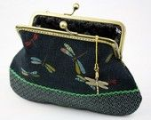Dragonfly Clutch Purse - Dragonfly in the Floral Sea (Cotton Fabric with Metal Frame and Bag Belt)
