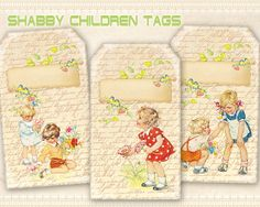 Vintage children gift tags Printable download on Digital collage sheet Paper craft Paper goods Scrapbooking - SHABBY CHILDREN TAGS