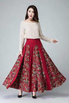 Floral skirt Linen skirt Red SkirtMaxi skirt patchwork by xiaolizi Linen  Skirt 805886963