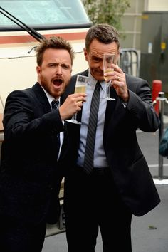 """And the time he and Bryan Cranston drank champagne // The 18 Best Real-Life Aaron Paul """"YEAH BITCH!"""" Faces"""
