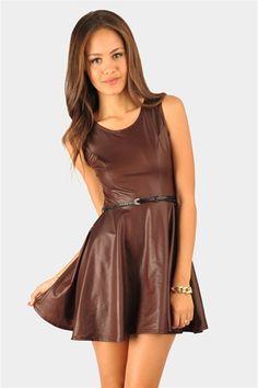 Leather Dress - Burgundy