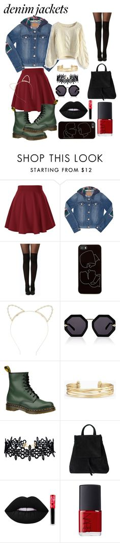"""""""Denim Jacket"""" by beabellezza ❤ liked on Polyvore featuring Amethyst Jeans, Boohoo, Zero Gravity, Lipsy, Karen Walker, Dr. Martens, Stella & Dot, LULUS, Lime Crime and NARS Cosmetics"""