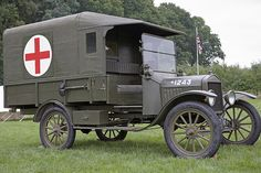 Ford 1916 Model T Field Ambulance. This canvas on wood frame model was used extensively by the British & French as well as the American Expeditionary Force in World War I. Its top speed was 45 mph (72 km/h), produced by a 4-cylinder water-cooled engine pinned by heywardhouse.org