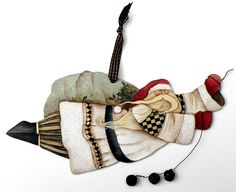 Lynne Andrews Jingle Bell Santa Ornament Pattern Packet Christmas Rock, Whimsical Christmas, Christmas Ornaments To Make, Santa Ornaments, Christmas Projects, Christmas Ideas, Ornaments Ideas, Cottage Christmas, Christmas 2015
