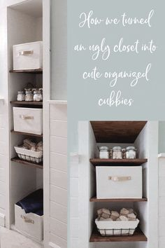 See how we turned an ugly bathroom closet (complete with heating duct!) into cute organized cubbies #100roomchallenge #sanddollarlane #closet #bathroomcloset #remodel #diyblogger Laundry Closet, Bathroom Closet, Laundry In Bathroom, Cubby Shelves, Cubbies, Shelving, Wooden Bathroom Shelves, Wooden Shelves, Coastal Bathrooms