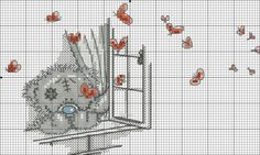 Tatty Teddy and Butterflies . 2 of 3 Just Cross Stitch, Cross Stitch Baby, Cross Stitch Animals, Counted Cross Stitch Patterns, Cross Stitch Charts, Cross Stitch Designs, Cross Stitch Embroidery, Embroidery Patterns, Tatty Teddy