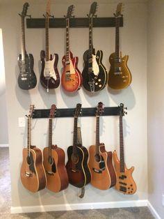 Guitar Hooks, Guitar Storage, Guitar Wall, Music Furniture, Furniture Projects, Guitar Bedroom, Guitar Display Case, Guitar Classes, Living Room Update