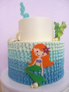Blue Ombré Ariel Cake