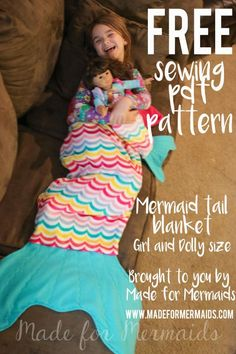FREE pdf sewing pattern for child and doll sized Mermaid Blanket! Tutorial shows how to make a shark too, awesome gift!                                                                                                                                                                                 Más